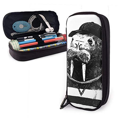 Morsa vestida en HipsterLeather Pen Pencil Case Pouch Bag with Double Zipper...