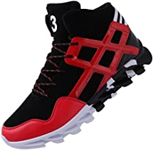 JOOMRA Fashion Sneakers for Men Leather Hitop Spring Boys High Top Trending Casual Footwear Athletic Daily Sport Snickers Walking Shoes Red 7 D(M) US