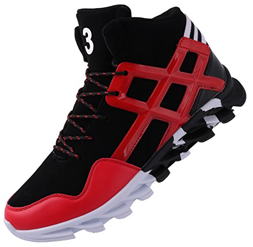 JOOMRA Mens Tennis Shoes Leather Lace up High Mid Top Leather Trending Street Jogging Daily Trainer Basketball Fashion Sneakers Red 9.5 D(M) US
