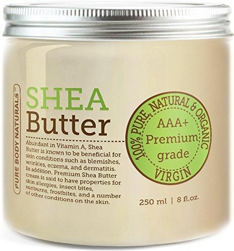 Pure Body Naturals - Beurre de Karité de Qualité Supérieure 450g (Approximativement) Grade A Beurre de Karité Biologique Non Raffinée