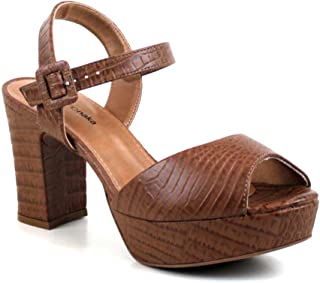 Sandalia Plataforma Croco Caramelo