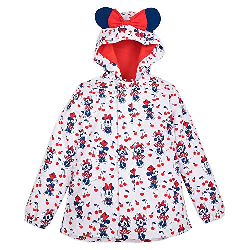 Disney Minnie Mouse Red Packable Rain Jacket and Attached Carry Bag for Girls, Size 7/8