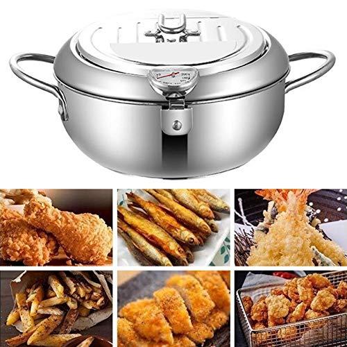 Edelstahl-Fritteuse mit Deckel,Fritteusen Tempura-Fritteuse im japanischen Stil, Antihaft-Edelstahl-Fritteuse zum Kochen in der Küche - 24 cm