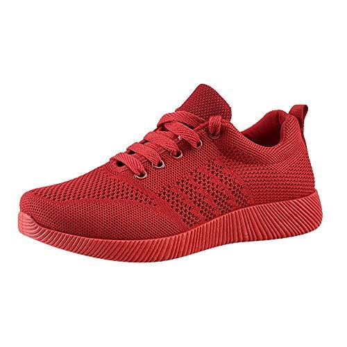 MRULIC Damen Turnschuhe Running Shoes Joggingschuhe Air Sohle Sneaker Trekking Schwarz Weiss Rot Sportschuhe Laufschuhe Mit Luftpolster Profilsohle Sneakers Trainer Leichte Schuhe(Rot,36 EU)