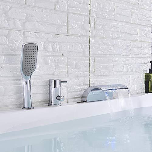 GIPOTIL Grifo de la bañera grifo de la bañera LED cascada generalizada bañera fregadero grifos mezclador latón cromado baño ducha grifo con ducha de mano caño alto