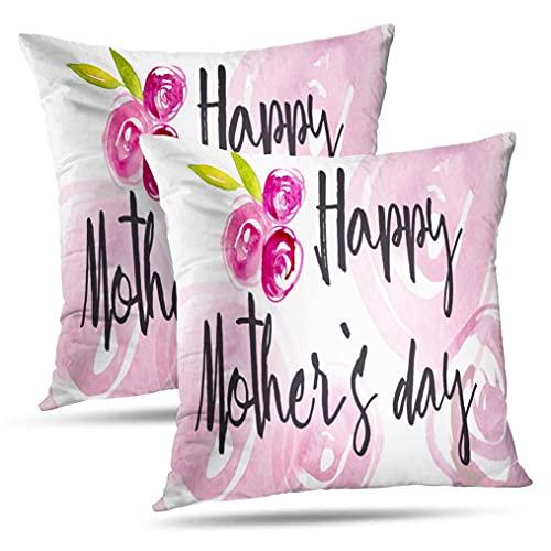 NA Juego de 2 Fundas de Almohada para el día de la Madre, Tarjeta de felicitación con Flores de Acuarela, Rosas y Hojas, Fundas de Almohada Negras, Uso de cojín para el sofá Cama de la Sala de Estar