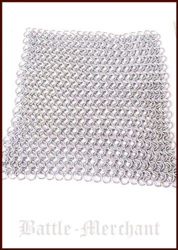 Battle-Merchant Kettenstück 20 x 20cm, unvernietet, ID8mm, verzinkt für Kettenhemd, Kettenhaube selber Machen