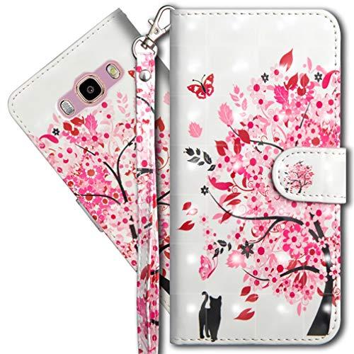MRSTER Funda para Samsung Galaxy J5 2016, 3D Brillos Carcasa Libro Flip Case Antigolpes Cartera PU Cuero Funda con Soporte para Samsung Galaxy J5 2016. YX 3D Tree Cat