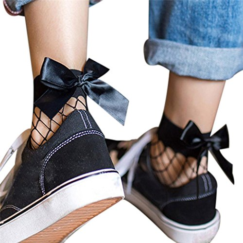 Short Socks,Haoricu 2017 Women Cute Bow Ruffle Fishnet Ankle Mesh Lace Socks (E)