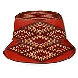 huagu Sombrero Pescador Unisex,Alfombra étnica de Lujo Vintage Rojo marrón,Plegable Sombrero de Pesca Aire Libre Sombrero Bucket Hat para Excursionismo Cámping De Viaje Pescar