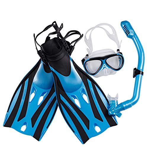 DIMPLEYA Mask Fin Snorkel Set with Kids Snorkeling Gear Panoramic View Diving Mask Watertight and Anti-Fog Lens for Best Vision Trek Fin Dry Top Snorkel for Lap Swimming,Blue,S/M