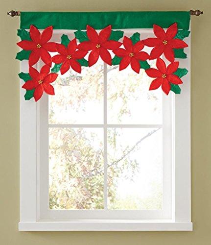 Fuibo Gardinen, Blütenblatt Tür Fenster Vorhang Vorhang Weihnachtsvorhang Dekorative Haus (Rot)