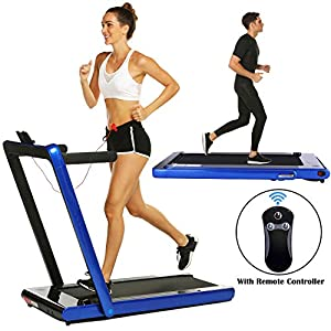 2 in 1 Under Desk Folding Treadmill,Electric Motorized Portable Pad Treadmills Walking Jogging Running Exercise Fitness…