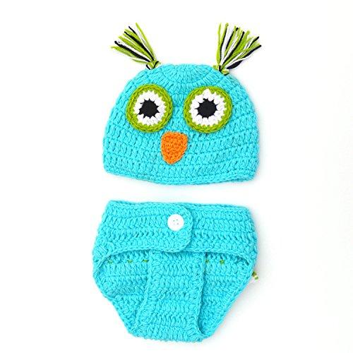 ENCOCO Baby Foto-Requisiten für Neugeborene Fotoshootings Outfits Häkelkostüm Kleinkind Jungen Mädchen Strickmütze Windel-Set blau