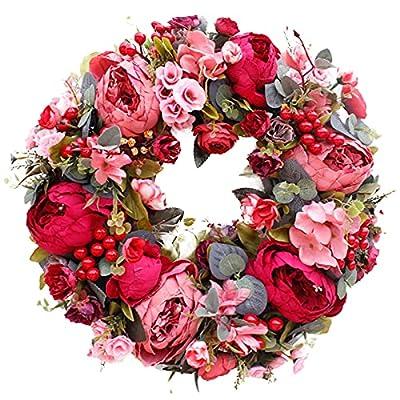 Amazon - 30% Off on  16″ Red Peony Flower Wreath Artificial Floral Door Wreath Spring Summer Wreath Welcome Door