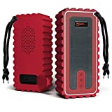 Waterproof Bluetooth Speaker with FM Radio– IP67 Rated Fully Submersible – Dust, Shock and Scratch Proof – 6W Power with 8 Hours Playtime – Outdoors Lifestyle (Red)