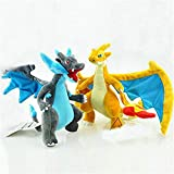 D-Khaleesi Mega Charizard X Y Figure Animal Toys Plush Doll Collectable Xmas Gift Set of 2