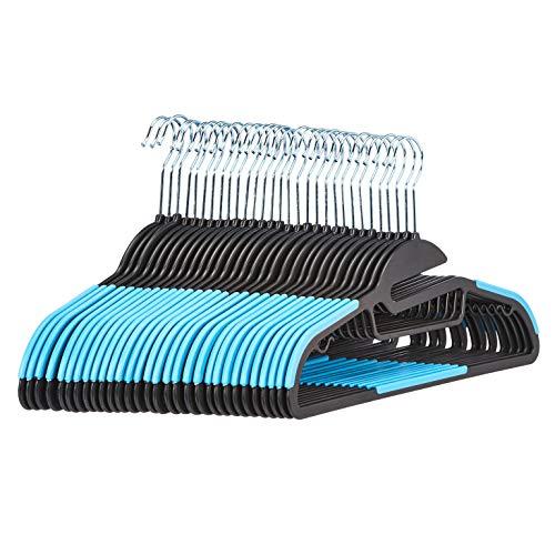 Amazon Basics - Grucce in plastica, antiscivolo, resistenti, con gomma e barra orizzontale, colore blu, confezione da 30