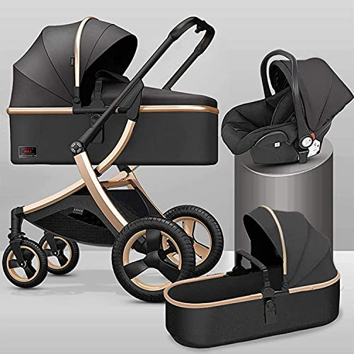 GYUGSD Stroller, Pushchair Stroller,Compact Baby Carriage with Removable Armrest and Foot Cover, 3 in 1 Baby Stroller Shock Absorption Springs High View Pram with Baby Basket (Color : Black)