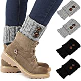 Winter Warm Women Leg Warmers Short Comfortable Crochet Boot Knit Cuffs Socks 2 Pairs (Black+Grey)