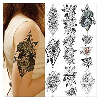 VANTATY 9 Sheets Creative Geometic Flower Temporary Tattoos Sticker For Women Girls Body Art Peony Drawing Triangle Rose Design Washable Waterproof Black Tatoo Flora Chains Summer Style