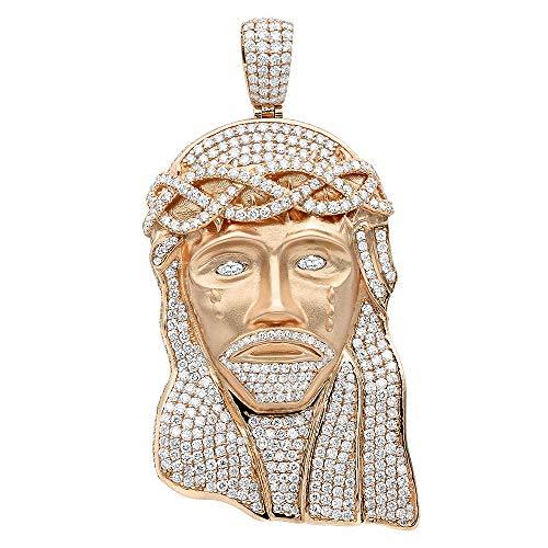Hip Hop Jewelry Piece Large Jesus Face VS Diamond Pendant for Men 18K Gold 11.6ctw G-H color (Rose Gold)