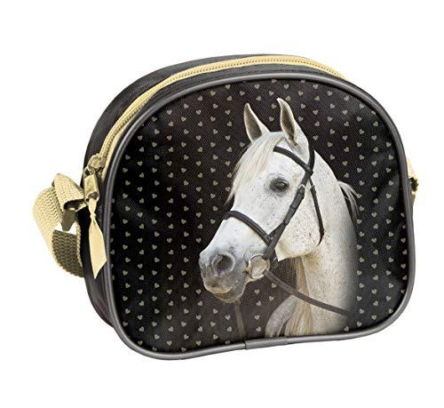 Ragusa-Trade Pferde Fan Mädchen Kinder - Handtasche Schultertasche Umhängetasche (401HS), schwarz/Gold, 17 x 15 x 5 cm