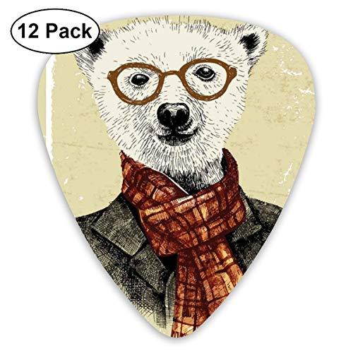 Gitaar Picks12 stks Plectrum (0.46mm-0.96mm), Hipster Beer Met Bril Sjaal Jas Wild Mammal Humorous Artwork,Voor Uw Gitaar of Ukulele