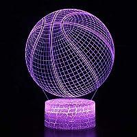 ノベルティ照明3DイリュージョンLEDランプバスケットボールモデル子供用ナイトライト寝室の装飾クリエイティブギフトランプ