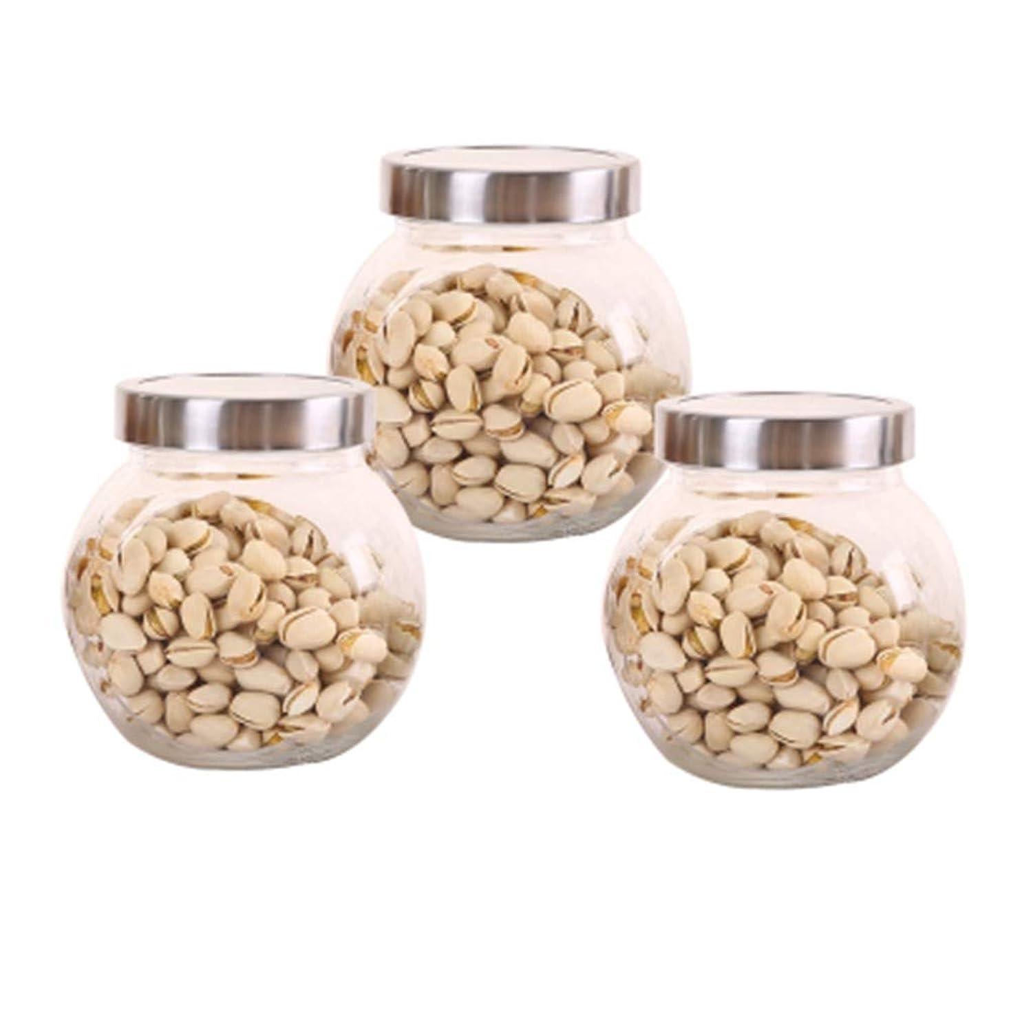 豆腐受信神聖3つの鉛フリーガラスドライフルーツシールの保湿ストレージジャーのストレージジャーパック(3パック)