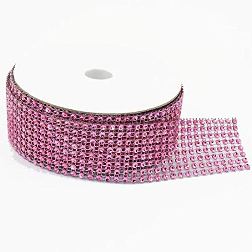 "8 Row 10 Yards, 1.5"" X 30FT Sparkling Acrylic Rhinestone Ribbon Bling Diamond Mesh Wrap Trimming DIY Roll for Event, Wedding, Birthday, Baby Shower,Room, Parties, Crafts Projects (Pink)"