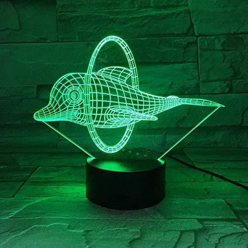 3D Luz De Noche Led LED Luz de Noche Delfín de circo para hombres, mujeres, niños, niñas, regalo Con interfaz USB, cambio de color colorido