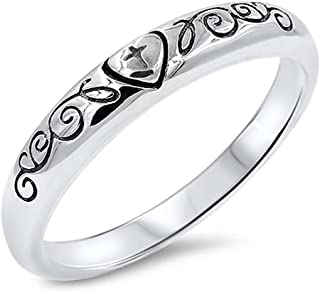 Oxford Diamond Co Plain Cross Purity Heart and Vine Band .925 Sterling Silver Ring Sizes 5-10