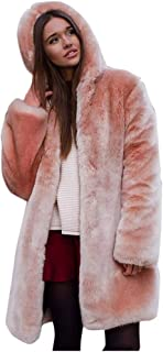 Women Fashion Winter Coat Faux Fur Hooded Thicken Warm Casual Plus Size Outdoor Jacket Parka Overcoat Tunic Fall