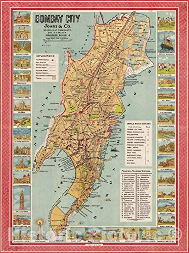 Historic Pictoric Map : Mumbai, India 1947, Bombay City, Antique Vintage Reproduction : 18in x 24in