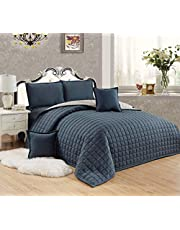 طقم لحاف مضغوط وجهين مفرش سرير 6 قطع، مقاس مزدوج، DGr-Si