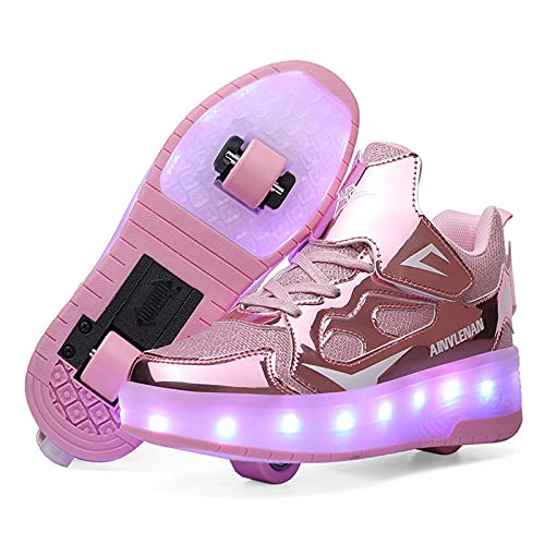 MNVOA USB Automática Ruedas Ajustables LED Zapatillas con Luces Ruedas Color Deporte Zapatos de Skate Roller Deportivos Zapatos Trainers Monopatín Sneaker para Niños Niñas,Rosado,37EU