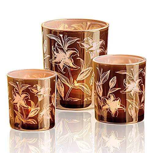 Set of 3 Votive Candle Holders, Glass Tealight Votives 3 Pack -Size 3.15' & 3.94' & 4.92' High, Modern Dark Gold with Pink Flower Pattern, Stylish for Home Decor ,Gift,Everyday Use (Lily)