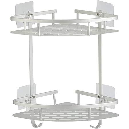 Hawsam No Drill Adhesive Shower Corner Shelf 2 Tier, Wall Mounted Non Rust Aluminum Stick Bathroom Shelves Caddy Storage Racks Basket for Shampoo