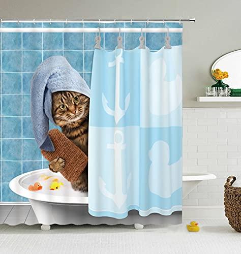 profession Cortina de la duchaCat Shower Curtains Bathroom Shower Curtain Cute Fabric Shower Curtain with Hooks Funny Waterproof Shower Curtain or Mat