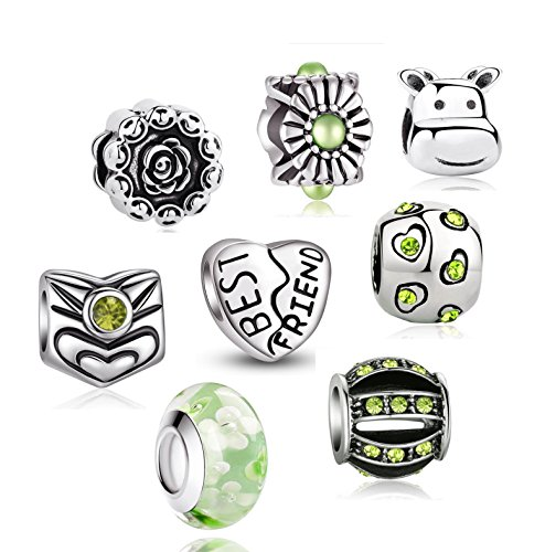 Akki Charm Angebote Beads Set Schwarz Weiß blau grün Rosa/Charms für Pandora Kompatibel Armband Silber Beads Bettelarmband Charms Modele Grün