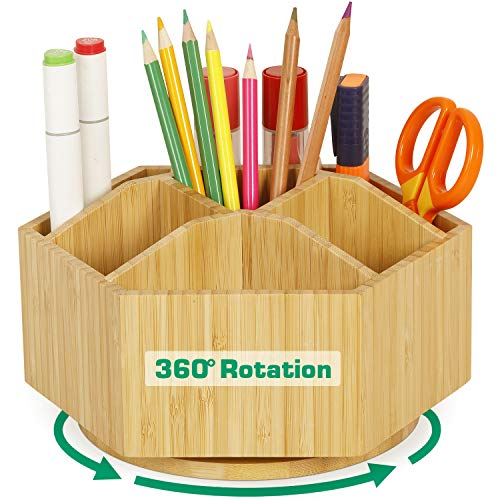 2 Pack Bamboo Rotating Art Supply Organizer - Darfoo Office Desk Organizers, Colored Pencil Holder with 7 Sections, Home School Supplies Organizer and Storage for Pen Pencil Crayon Marker and Craft