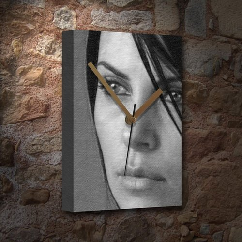 CHARLIZE THERON - Canvas Clock (LARGE A3 - Signed by the Artist) #js001
