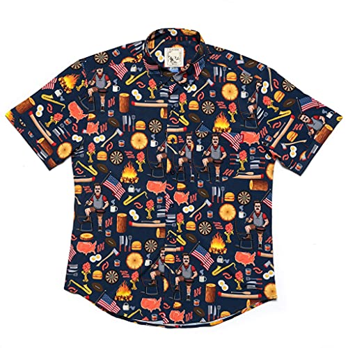 공원 및 REC 레크리에이션 남성용 짧은 소매 버튼 다운 셔츠 RON SWANSON TV 쇼 상품 선물