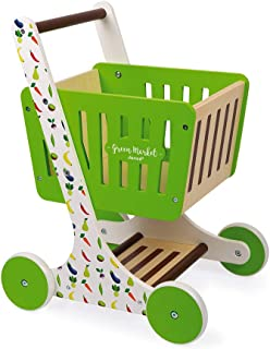 Janod Green Market Wooden Shopping Trolley with Grocery Accessories