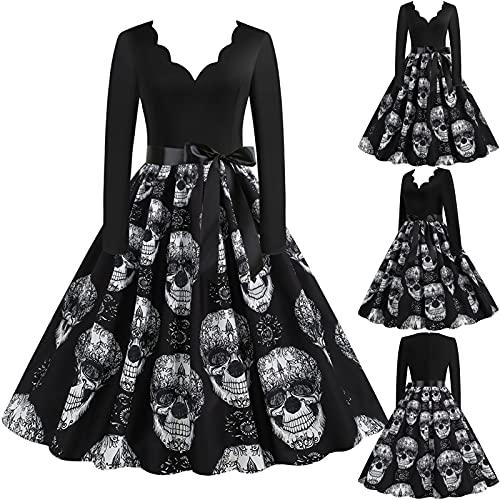 Vestido feminino vintage de Halloween com decote em V e cintura alta com estampa de fantasma/abóbora/morcego de 1950 para festa à noite, J-preto, XXG