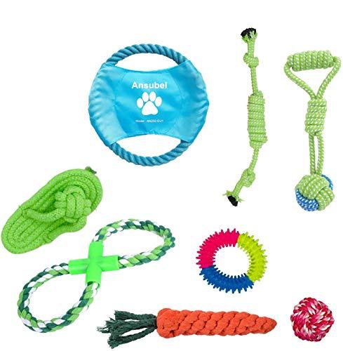 Hundespielzeug für Welpen,8 Packungen, Hundespielzeug, Seil, Ball, Frisbee, langlebig, für kleine bis mittelgroße Hunde, interaktive Spiele