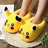 Fashion Man Cotton Slipper Lovers Winter Plush Cartoon Spoof Neutral Fat Loaf Shoes One Size Indoor Slippers Warm Non Slip Sole (Pikachu, 42-44)