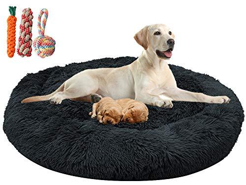 Orthopädisches hundebett flauschig für große und extra große Hunde mittlere hunde,Donut Weiches Plüsch Rundes hundekissen waschbar deepsleep calming bed loop hund (XXL: 110cm Durchmesser,Dunkelgrau)