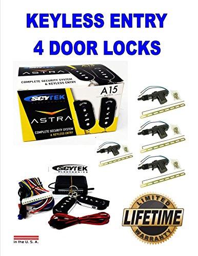 Scytek A15 Keyless Entry Car Alarm Security System, 2 Key Fob 4 Door Locks